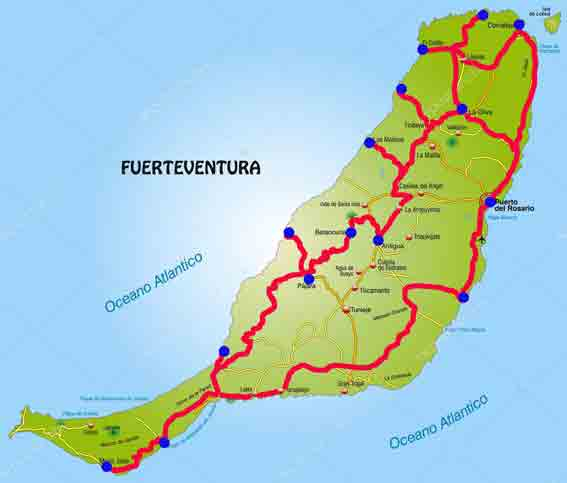 Cartina Spagna Fuerteventura.Fuertaventura